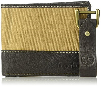 41106a22f257 AUTHENTIC Timberland Mens Canvas and Leather Wallet Bifold with Key Fob Gift  Set Khaki in Gift