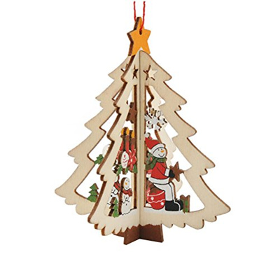 Qoo10 - Tinksky Wooden Christmas Tree Ornaments Hanging Christmas Decorations ... : Furniture & Deco