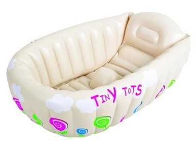 Tiny Tots Baby Infant Travel Inflatable Bath Tub Cream Color
