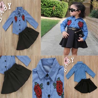 4b1f180b5 Qoo10 - Toddler Baby Girls Floral Denim Shirt+Skirt Tutu Dress Embroidery  Outf... : Baby & Maternity