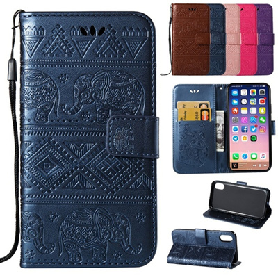 Top Grade PU Leather Wallet Card Holder Elephant Embossed Pattern Flip  Cover for ZTE ZMAX Pro (Carry