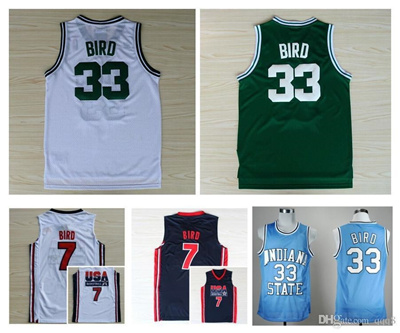 competitive price 9f8f2 e7557 Top Quality ! 1992 USA Dream Team Larry Bird Jersey 7 Throwback Indiana  State Sycamores 33 Larry Bir
