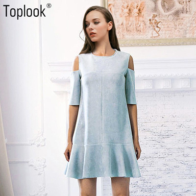 00b1973fae57b Qoo10 - Toplook Cold Shoulder Dress Suede Blue Vintage Women Robe Sexy  Party D...   Women s Clothing