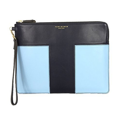 Tory Burch Block-T Large Pouch in Tory Navy/Riviera Blue