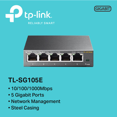 TPLinkTP-LINK TL-SG105E 5-Port Gigabit Easy Smart Switch - 3 YEARS LOCAL  WARRANTY