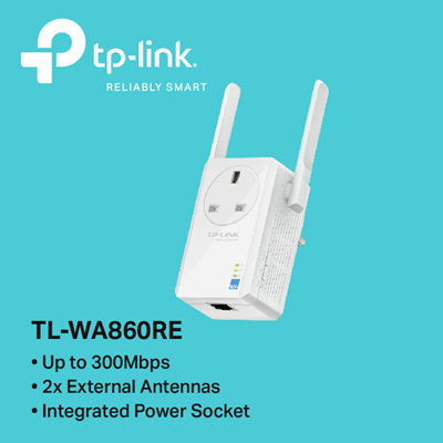 TPLinkTP-LINK TL-WA860RE 300Mbps Wi-Fi Range Extender with AC Passthrough -  3 YEARS LOCAL WARRANTY