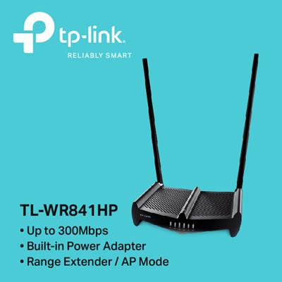 TPLinkTP-LINK TL-WR841HP 300M HighPower Wireless N Router (Version3) 2x  9dBi Antennas -3YRS LOCAL WARRANTY