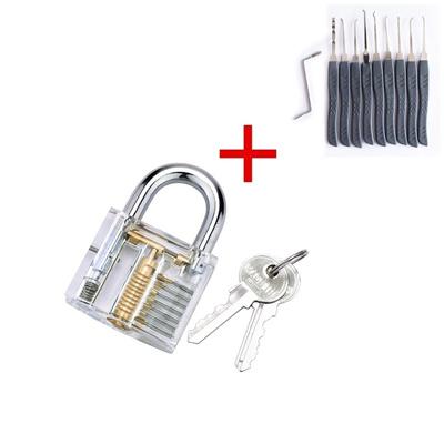 Training Cutaway Brass Lock + 10PCS Pick Lock Tool Kit for Locksmith GL  SKU-00780