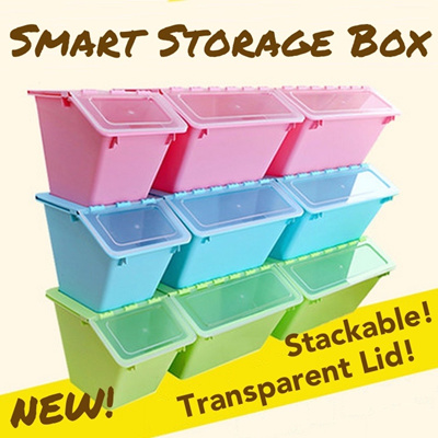 Transparent Smart Storage Box ? Stackable Space Saving Compartment Organiser Spruce Up Your Home Container  sc 1 st  Qoo10 & Qoo10 - Smart Storage Box : Furniture u0026 Deco
