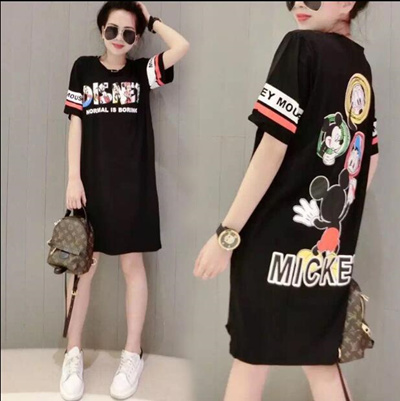 Qoo10 - Trend creative mickey mouse short sleeve loose T-shirt dress    Women s Clothing 020e358b4f