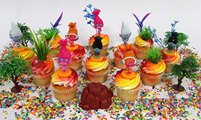 TROLLS Birthday Cupcake Topper Set Featuring Trolls And Friends Characters Other Decorative Them