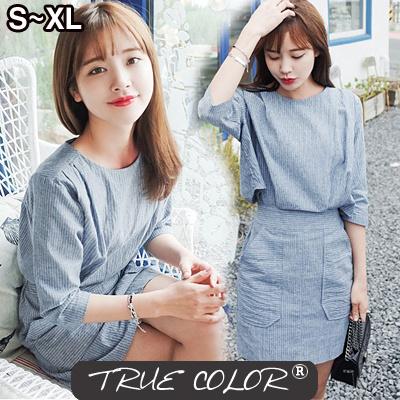 6202cc6b1b Qoo10 -  TRUE COLOR Vertical striped dress  WOMEN-A-25   Women s ...