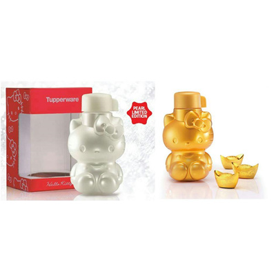539d7da0c 100% Authentic Tupperware Limited Edition Lucky Gold / Pearl Prosperity  Hello Kitty Water Bottle