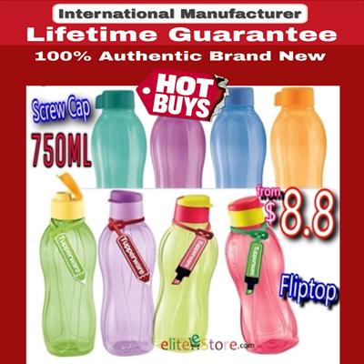 [Tupperware]TUPPERWARE Eco Water Bottle 750ml FLIPTOP SCREW CAP BRUSH Flip  Top BPA Free Gifts Conference Sports