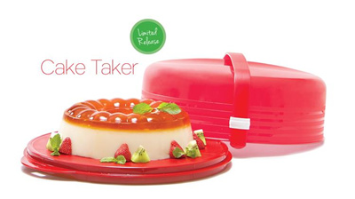 Tupperware Cake Taker - A Unique And Elegant Cake Saji Container - Red Color