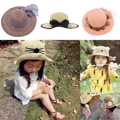 73af7ef22bf Qoo10 - tv summer handmade flowers children straw hat baby girls Beach Hats  fo...   Kids Fashion