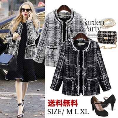 3b817d82d8bf Qoo10 - Tweed Tweed Jacket Chester Court Ladies Check / Coat / Coat Women'...  : Women's Clothing