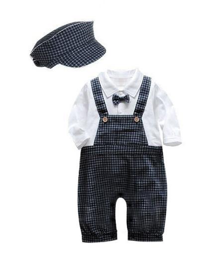 Qoo10 - Two Pcs Plaid Hat Fashion Baby Boys Romper   Women s Clothing 5f43534606