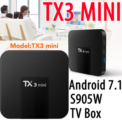TX3 Mini Set-top TV Box S905W 2 4GHz WiFi Android 7 1 1GB/2GB RAM + 16GB  ROM Support 4K Support