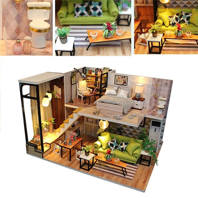 Qoo10 Unassembled Mini Doll House Diy Miniature Dollhouse Model