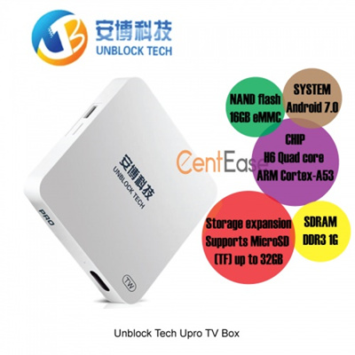 Unblock Tech Upro TV Box - Android 7  8Core  1GB  16GB  BT  MicroSD up to  32GB