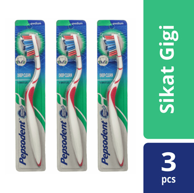 PEPSODENT DEEP CLEAN SIKAT GIGI MEDIUM MULTIPACK ISI 3