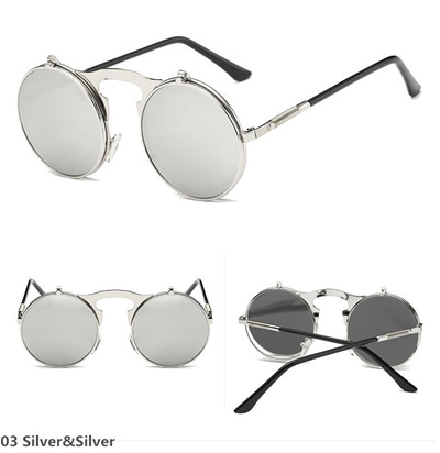 a606644094121 Qoo10 - Unique Design Popular Retro Metal Punk Steam Flip Up Sunglasses  Clamsh...   Fashion Accessor.