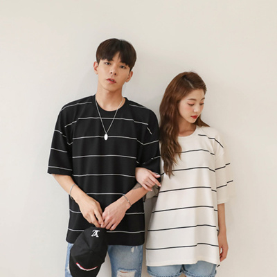 e99b0771ea0 Qoo10 - Unisex Couple T-Shirt Short Sleeve Stripe Tee shirts   Men s Apparel