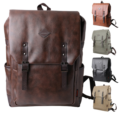 755acaf6a9a4 [Hi Korean Fashion]Unisex Mens Womens Faux Leather Backpacks Vintage Casual  Laptop School Bookbags Satchel Rucksacks Daypacks