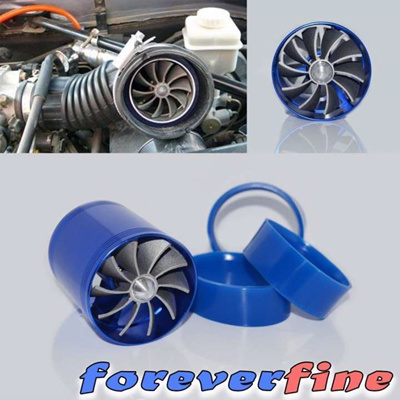 Universal F1-Z Blue Dual Fan Turbonator Fuel Saver For Turbo Supercharger  Air Intake