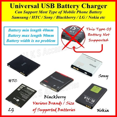 Universal USB Portable Phone Battery Charger For Samsung Galaxy Xiaomi HTC  Nokia LG Blackberry