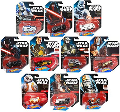 Unknown Hot Wheels Star Wars Character Car Toy Set Han Solo Bb 8 Kylo Obi Wan Darth Vader Storm
