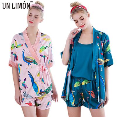 0f71f47e1e Qoo10 - UNLIMON 3pcs Women Faux Silk Pajama Sets Satin Robes Short Sleeve  Bird...   Underwear   Sock.