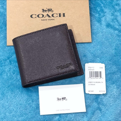 Qoo10 - USA Branded F59112 Compact ID Men Wallet Crossgrain Leather Oxblood    Bag   Wallet b62a34fc95ac