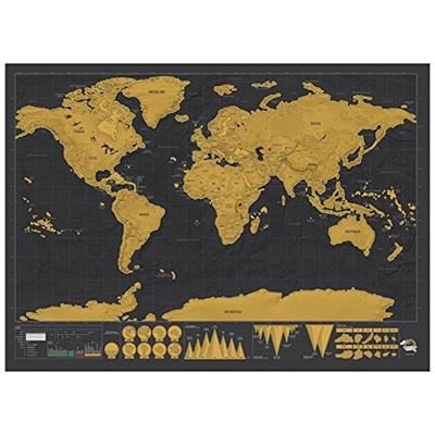[USA] Scratch Off World Map Poster by Srachco - Premium Large size map with  detail cartography inclu