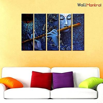 Usa Wallmantra Radha Krishna Spiritual Wall Painting 5 Pieces Canvas Print Wall Hanging Stretched