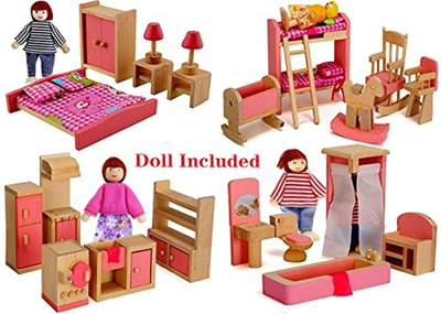 Qoo10 Usa Wood Family Doll Dollhouse Furniture Set Pink