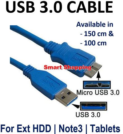 USB 3.0 Cable for External HDD Hard Drive Disk NOTE 3 for date transfer or charging