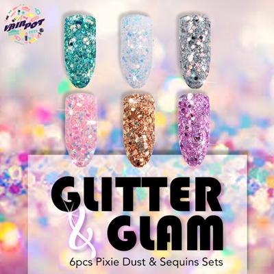 Vainpot Nail Art Glitters Pixie Dust Powder Holographic Sequins