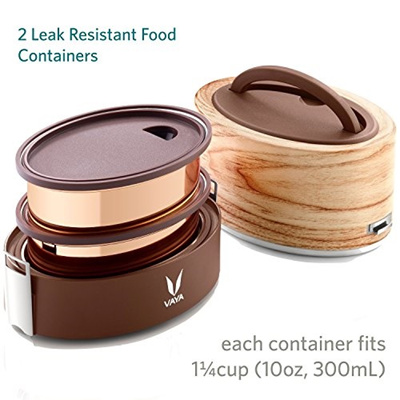Vaya Tyffyn 600 ml Insulated Lunch Box - Stainless Steel Leak-Resistant  Food Storage Container - 100