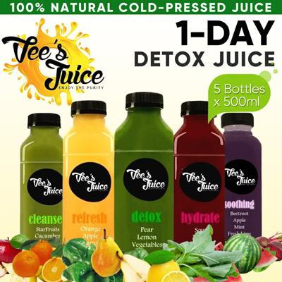 [Vees] Cold-Pressed Juice! 1 DAY Juice Detox Program (5x 500ml) FRESHLY  Prepared Plus FREE DELIVERY!