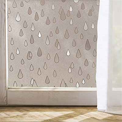 Velimax Static Cling Rain Window Film Privacy Frosted Glass Film Sticker  Rain drop Anti-UV Sun-Block