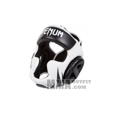 Black//White Venum Challenger 2.0 Boxing Headgear with Hook and Loop Strap