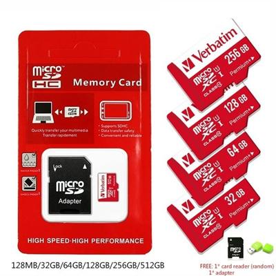 Verbatim Hot 128MB 32GB 64GB 128GB 256GB 512GB Micro SD MicroSDHC Micro SD  SDHC Card Class 10 UHS-1
