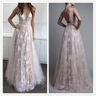 Vestido De Noiva 2018 Deep V Neck Boho Wedding Dress Plus Size Brautkleid Bride Dress Lace Bohemian