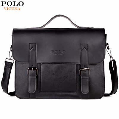 c25308eb4c Qoo10 - VICUNA POLO Business Men Bag Double Belt Decor Brand OL Leather Men  Br...   Men s Bags   Sho.
