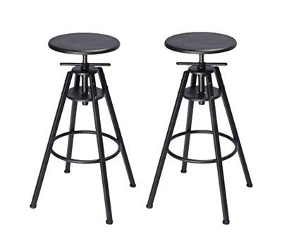 6f7f3cc145761 Qoo10 - (VILAVITA) VILAVITA Set of 2 Adjustable Round Pine Wood Barstools
