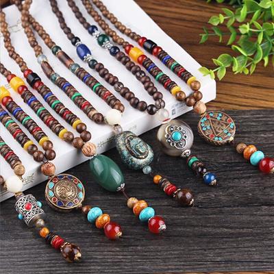 Triangle Statement Vintage Wood Necklace Beads Buddhist Necklace Ethnic Nepal