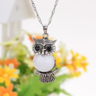 Vintage Fashion Retro White Bead Crystal Berlian Imitasi Owl Pendant Kalung Sweater Chain Metal Alloy B