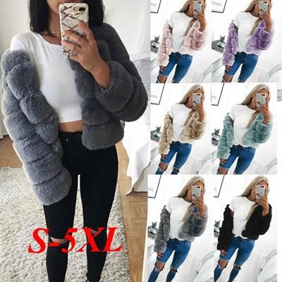 3df037fda4f Qoo10 - Vintage Fluffy Faux Fur Coat Women Short Furry Fake Fur Winter  Outerwe...   Women s Clothing